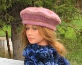 SALE PRICED! Knit Felt Beret Tam Mauve Brown Stripe Boiled Wool
