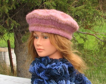 SALE PRICED! Knit Felt Beret Tam Mauve Brown Stripe Boiled Wool