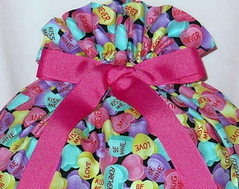 Candy Conversation Hearts Large Fabric Gift Bag - Valentines Day, Love, Forever, Be Mine, Kiss Me, Hug Me, Pink, Blue, Purple, Yellow, Black