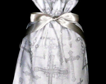 Silver Crosses on White Small Fabric Gift Bag - Religious, Spiritual, Ministry, Faith, Christian, Easter, Gray, Grey