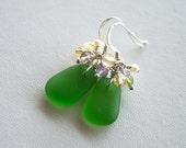 Sea Glass Gemstone Cluster Earrings Kelly Green Sterling Silver