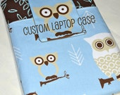"13"" Macbook Air Laptop Case - Hooty Owl Village - Blue and Brown Owls"