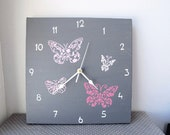 Butterflies Wall clock- pink and grey  Butterflies clock - canvas clock- Decorative  hand painted Square unique girls clock
