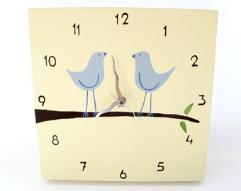 Clock - love birds cream  and blue nursery clock  -unique wedding gift, canvas clock, decorative hand painted square