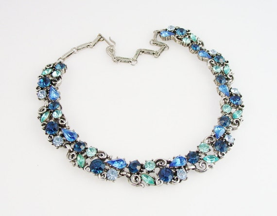 Lisner Vintage Rhinestone Necklace Light Amp Dark Blue