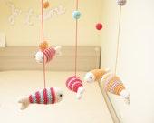 Girl Baby Mobile, Sea Animals Mobile, Nursery Mobile, Fish Nursery Decor, Fish Mobile, Peach and Raspberry