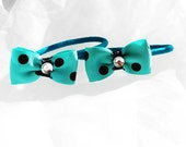 Teal Black Polka Dot Mini Bow Ponytail Rockabilly Pinup cij