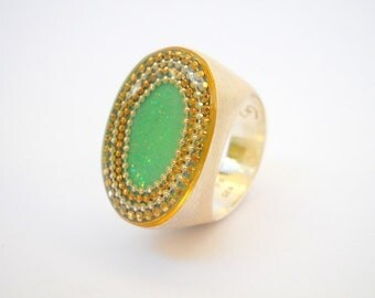 Silver Green ring, oval Sterling silver ring, sparkly green top with gold & silver dots, feminine ring