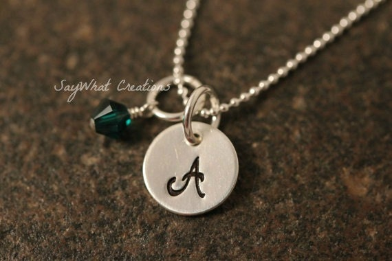 Custom Hand Stamped Sterling Silver Mini Initial Birth stone Necklace with one Letter