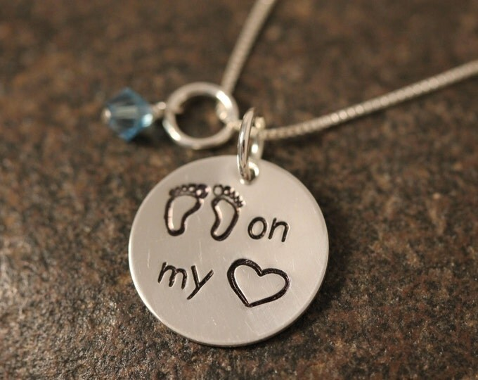 Custom Hand Stamped Sterling Silver Footprints on my Heart Necklace