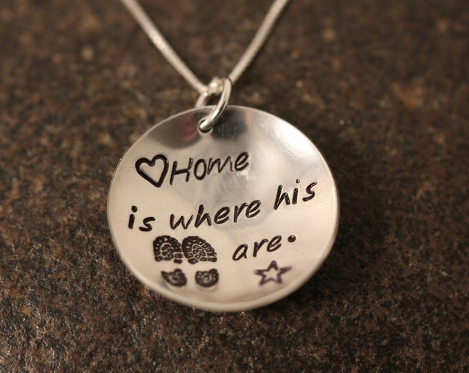 "Custom Hand Stamped Sterling Silver ""Home is Where His Boots Are"" Necklace for Military Wives Girlfriends Etc"