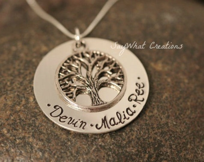 Custom Hand Stamped Sterling Silver Family Tree of Life Necklace Great for Mothers or Grandmothers