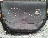 Black Handmade Kodiak leather adjustable shoulder bag with sparkles and Dragonfly