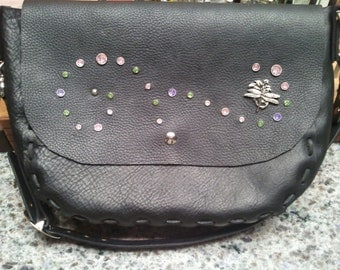 Black Handmade Kodiak leather adjustable shoulder bag with sparkles and Dragonfly