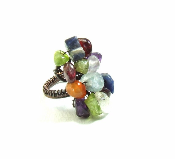 7 chakra ring, rainbow natural healing stone chips copper adjustable jewelry