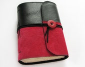 Ruby red and black leather journal, suede, sketchbook, art book, diary, 240 pages, blank craft beige paper