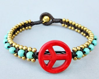 Charm Red Coral Peace Sign and Turquoise Bead Knot Bracelet B286