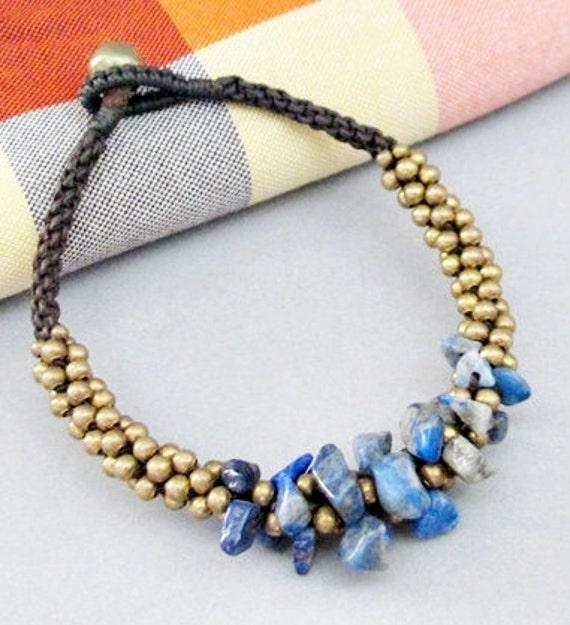 Mala Lapis Lazuli Brass Bead Macrame Bracelet