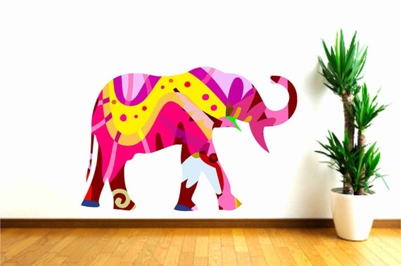 Colorful elephant wall decal sticker in yellow and by popitay Colorful elephant home decor