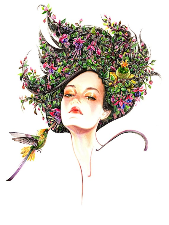 Floral Fashion Portrait-Girl and Hummingbirds- Watercolor Fashion illustration