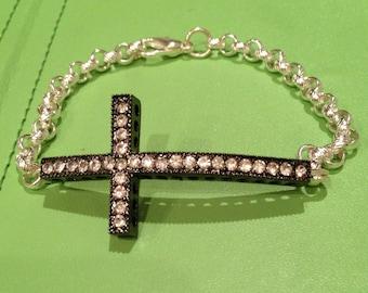 Black Cross Crystal Bracelet