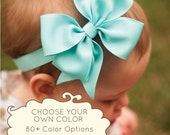 Large Pinwheel Bow Headband, 100+ colors, ANY color you choose, Baby Bow, Baby Girl, Hair Bow, Boutique Baby Headband Bow