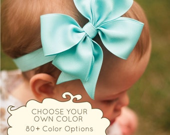 Large Pinwheel Headband, 100+ colors, ANY color you choose, Baby Bow, Baby Girl, Hair Bow, Hair Clip, Kinley Kate, Baby Girl, Blue Bow
