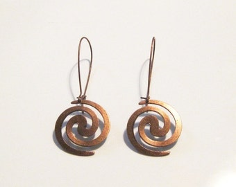 Copper Oxidized Plated Spiral Dangle Earrings