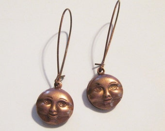 Moon Face Copper Dangle Earrings