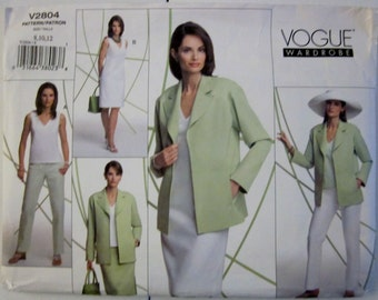 Vogue 2804 Womens Jacket Top Dress Skirt Pants Sewing Pattern Bust 31 to 34