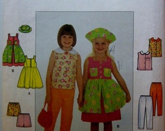 Simplicity 8583 Girl Dress Jumper Top Pant Hat Sewing Pattern Breast 24 to 27