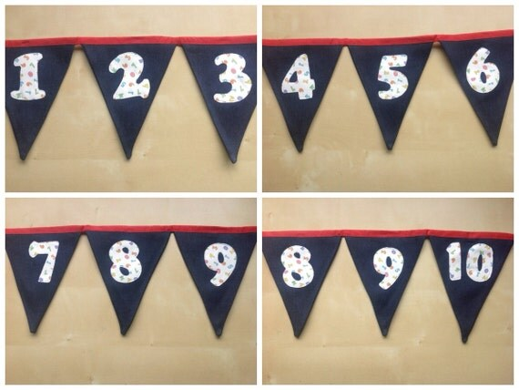 CUSTOM LISTING for Kerry -  Number Bunting 11-20