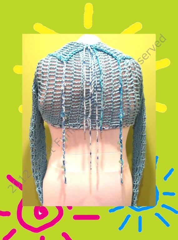 Shrugs Boleros Vests , Handmade Shrugs, Women's Long Sleeve Shrug, Beaded Shrug, Handcrafted 100% Cotton, Baby Blue, Festival, Hippie
