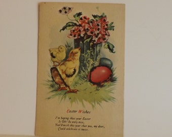 Antique Easter postcard chicks, eggs and flowers with poem and lots of glitter