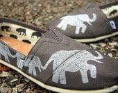 Custom Hand Painted TOMS Elephant Custom toms Shoes