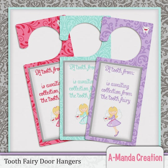 Tooth fairy printable door hanger tooth ready by for Tooth fairy door