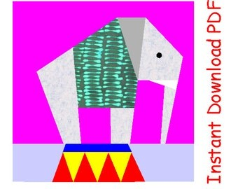 Circus elephant paper pieced quilt block PDF pattern INSTANT DOWNLOAD