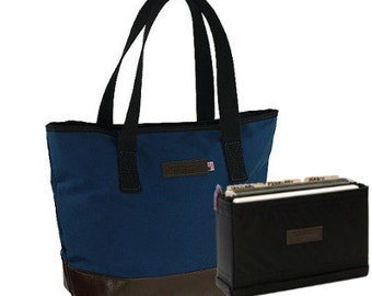 "19"" Blue  Business Tote Bag with file organizer - Italian leather bottom"