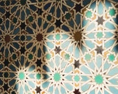 Geometric architecture photo, 8x10 print, Spanish architecture, Seville, Moorish, arches, teal, turquoise, geometric pattern, shadows