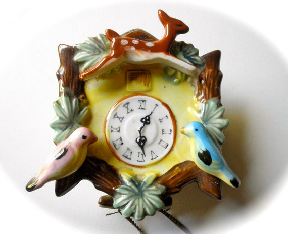 Vintage Colorful Ceramic Wall Pocket Cuckoo Clock Planter With