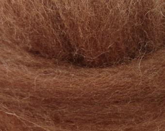 1oz Shetland Brown Wool Spinning Felting Fiber