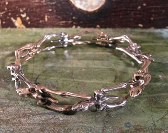 "Unisex Cast Sterling Silver and Bronze Bone-Like Bracelet - ""Marcella"""