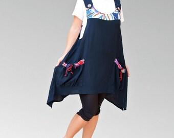 Cotton Navy deep blue women dresses/loose cut tunics/plus size/maxi tops/fancy dresses