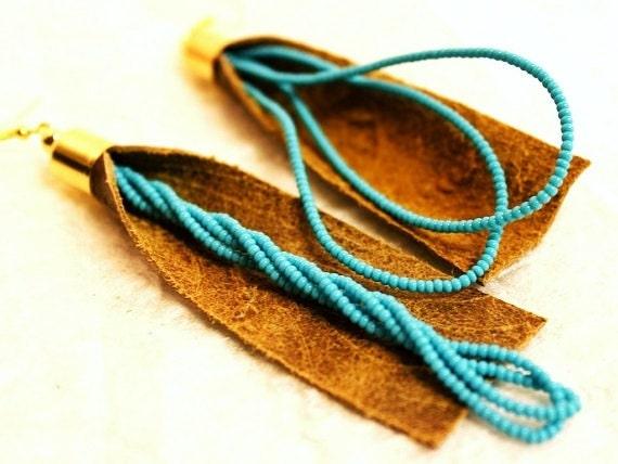 Brown Leather and Bead Earrings, Turquoise Bead Dangler, Long Earrings,