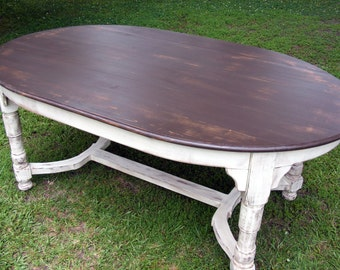 Oval Dining Table Completely Handcrafted Distress Brown Top and Distressed Ivory Bottom