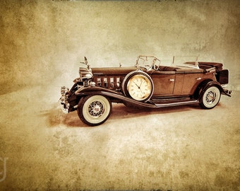 """Fine Art Print - Cadillac with Clock - """"Ten Two"""" Kitchy Clock Vintage Antique 1:18 Scale Model Automobile"""