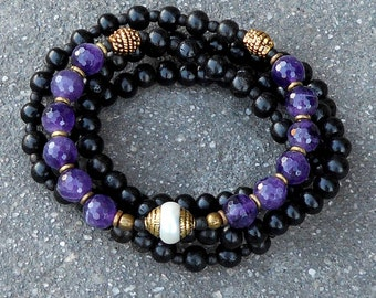 108 ebony, amethyst beads with Tibetan capped pearl