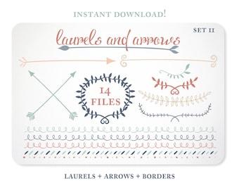 Arrow Clipart / Laurel Clipart / Blog Graphics / Blog Borders  - Set 2  Instant Download