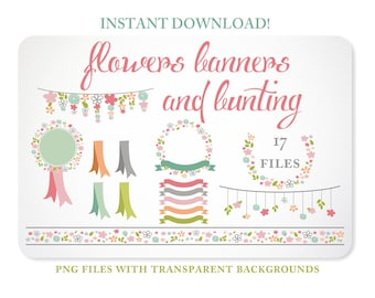 Bunting, Banners & Flowers Design Elements in Pastel colors - Instant Download