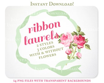 Roses and Ribbon Laurels Digital Clipart for Scrapbooking, Invitations, & Branding  - Instant Download